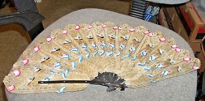 STUNNING  Vintage  Pierced Rawhide FAN with Gold Detailing (Estate Find)