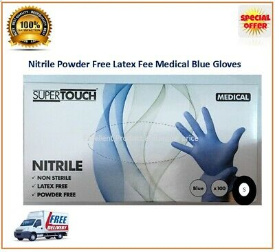 Disposable Gloves Nitrile Blue Powder Free Latex Free Medical Blue Supertouch