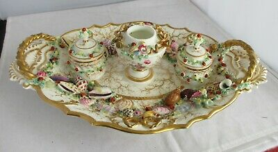 Elaborate Antiquevictorian Hand Made Porcelain Double Ink Well And Hand Painted