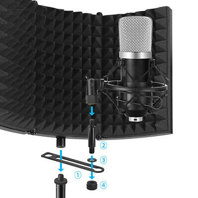 Foldable Noise Reduction Microphone Windscreen Studio Recording Isolation Shield