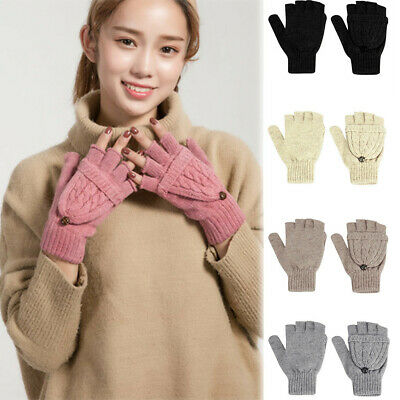 Women's Winter Gloves Warm Lining - Cozy Cable Knit Thick Gloves Fashion Mittens