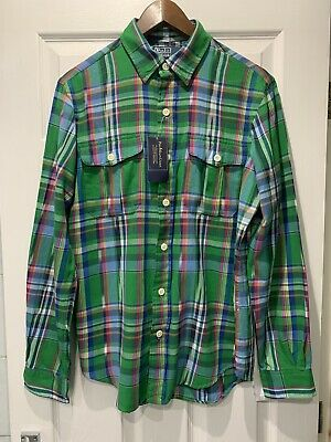BNWT Ralph Lauren Multi-Coloured Twill Cotton Check Plaid Shirt Size Small