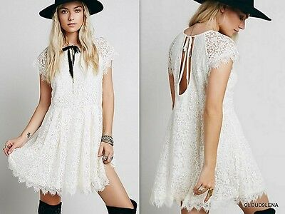 NWT FREE PEOPLE Anthropologie Tie Back Lace Overlay STARDUST Summer Dress SMALL