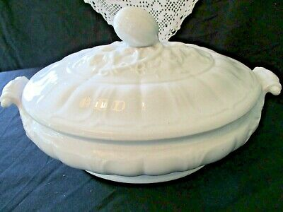 Antique John Edwards - White Ironstone Covered Casserole - Dated Jan 5Th 1864