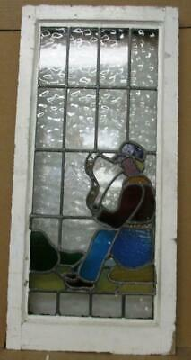"LARGE OLD ENGLISH LEADED STAINED GLASS WINDOW Man Smoking a Pipe 15.5"" x 32.5"""