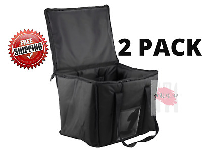 "2 PACK Insulated BLACK 15"" x 12"" x 12 Sandwich Sub Delivery Food Pan Carrier Bag"