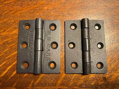 "2x Antique Cast Iron Fixed Pin Butt Door Hinges 3"" X 2 3/8"" Wide Phila Wh Carr"