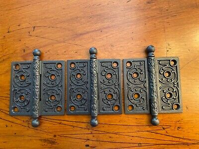 """3x Antique Cast Iron Cannon Ball Tip Door Hinge Set 4""""x4"""" Marked Nice!"""