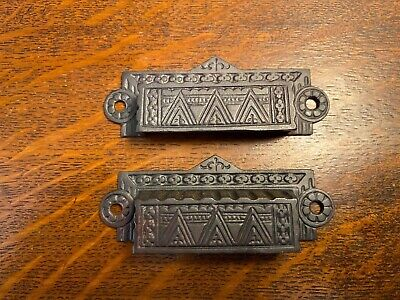 1x Pair Of Antique Cast Iron Eastlake Drawer Pulls. Nice Clean Set!