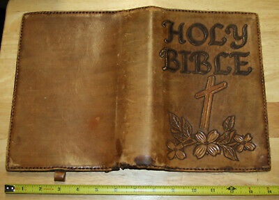 Beautiful antique vintage hand crafted Leather Bible Cover
