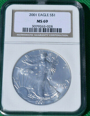 2001 $1 American Silver Eagle Dollar NGC MS69 Brown Label