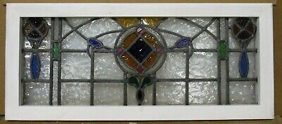 "OLD ENGLISH LEADED STAINED GLASS TRANSOM WINDOW Stunning Colors 33.75"" x 14.75"""