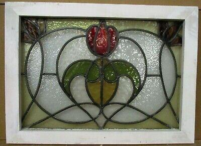 "MIDSIZE OLD ENGLISH LEADED STAINED GLASS WINDOW Pretty Floral Design 26"" x 19"""