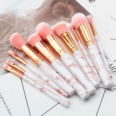 Marbling Kabuki Make up Brush Set Brushes Blusher Face Powder Pink Grey 10PCS