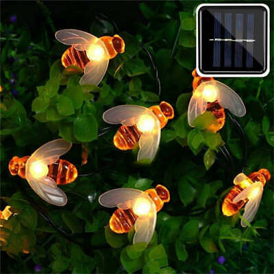 30 LED Bee Solar Party Fairy Outdoor String Lights Patio Garden