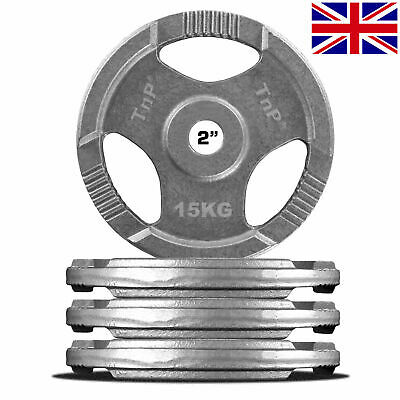 """Tri Grip Olympic Weight Plates Disc Cast Iron 2"""" TriGrip Weights Plate Gym TnP"""