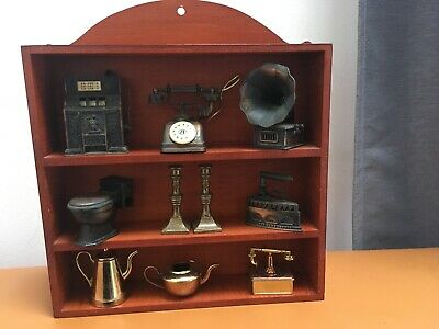 Small Wooden Antique Miniature Storage Display Shelf For Collectables