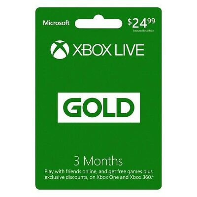 Microsoft Xbox Live GOLD 3 Month  Membership for Xbox 360 / XBOX ONE