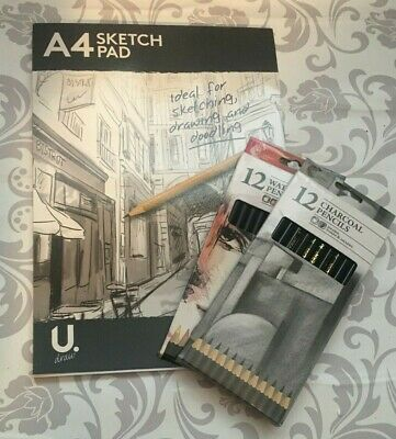 Art Kit Drawing Pad Charcoal Watercolour Pencils Draw Creative Supplies Sketch