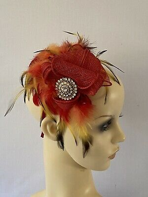Feather Fascinator Red & Yellow Hat Millinery Headdress Burlesque Wedding Guest