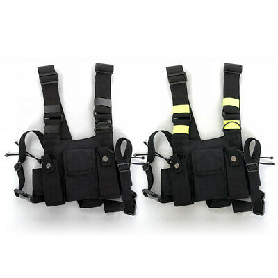 Outdoor Holster Vest Radio Chest Harness Front Bag Pockets Fit For Walkie Talkie