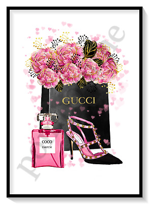 Pink Fashion Print Designer Perfume Shoes Wall Art Room Decor Picture Gift A4