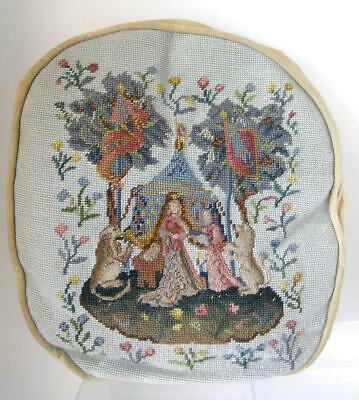 Vintage Flemish Baroque Needlepoint Pillow Maiden under Tent with Lions