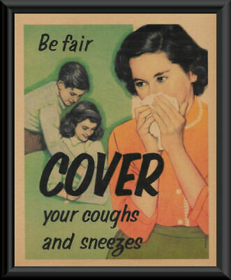 1940s Cover Your Cough Pandemic Poster Reprint On 80 Year Old Paper COVID 237