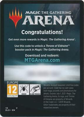 Gives 1x Online Boosters 5x Unused MTG Arena Code Card Throne of Eldraine MTG