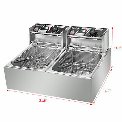 Stainless Steel Double Cylinder Electric Fryer EH82 2500W 220-240V 12.7QT/12L