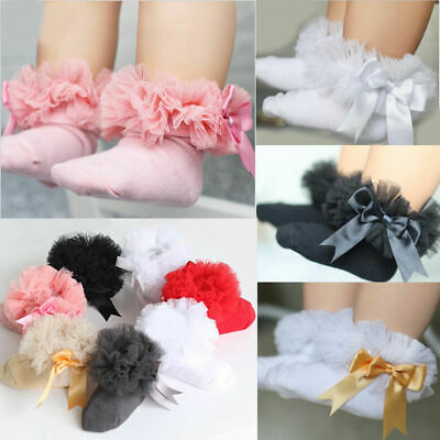 Baby Kids Girl Princess Bowknot Sock Lace Breathable Frilly Trim Ankle Socks Hot