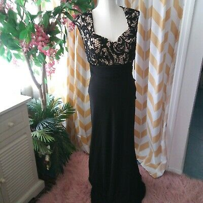 Glow Ladies Size 10 Black Nude Beaded Full Length Sleeveless Gown Prom Dress NWT