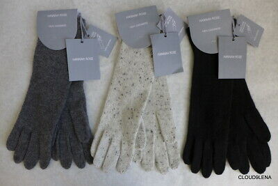 NWT HANNAH ROSE 100% Cashmere Smart Phone Texting Long GLOVES Gray/Black