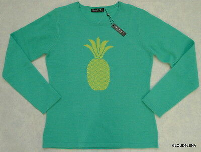 NWT HANNAH ROSE Size L 100% Cashmere Pineapple knit Crew-neck Sweater