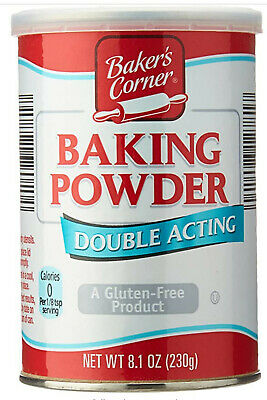 Baking powder Double Acting 8.1oz can Quality Assured Baker's Corner Gluten free