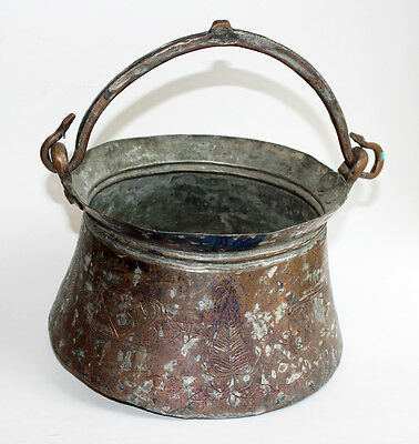 Antique Middle East Islamic Persian Bucket Metal Inscribed Large Etched Cauldron