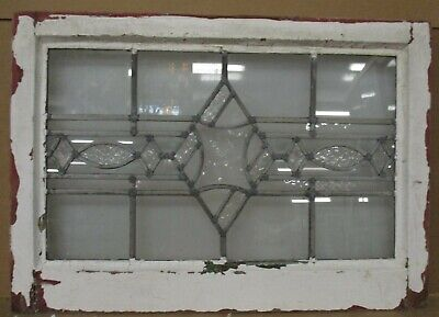 "MIDSIZE OLD ENGLISH LEADED STAINED GLASS WINDOW Clear Textured 24"" x 17"""