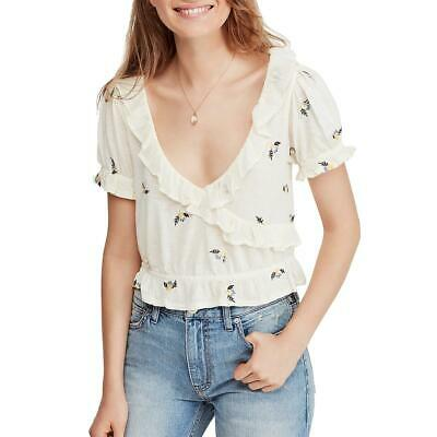 Free People Womens Stay With Me Cotton Blend Long Sleeve T-Shirt Top BHFO 8244