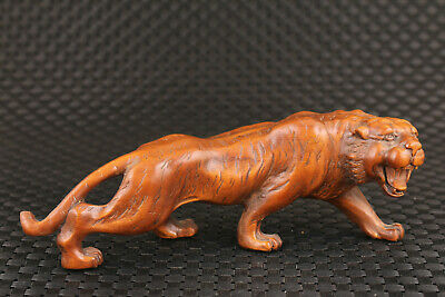 unique chinese old wood hand carved tiger statue figure collectable