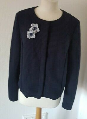 Tom Tailor Navy Blue Ribbed Button Down Flower Beaded Detail Jacket Top Size L