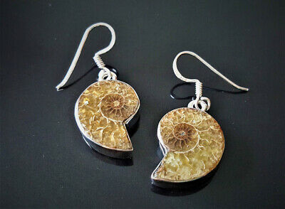 Eliz Sterling Silver 925 Natural Ammonite Fossil Nautilus Rock EARRINGS Talisman