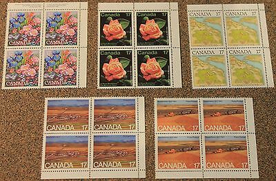 Canada 5 Different Mint Never Hinged 17 Cent Blocks Of 4 Stamps