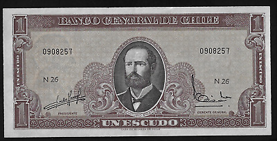 CHILE 1 Escudos Banknote World Paper Money UNC Currency Pick p136 1964 Bill Note