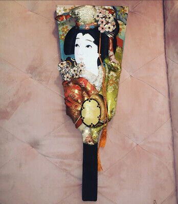Vintage Hagoita Geisha Japanese Wooden Paddle Doll 3D Wall Art Decor Handpainted