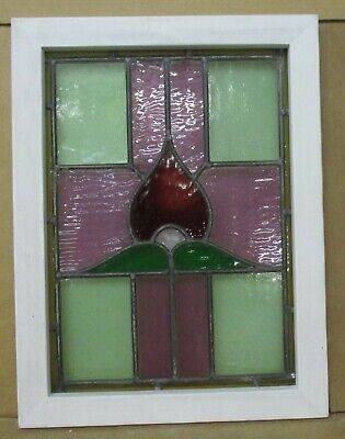"OLD ENGLISH LEADED STAINED GLASS WINDOW Pretty Colorful Cross 15.5"" x 20.5"""