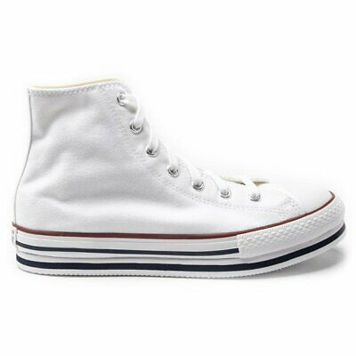 New Girls Converse White All Star Hi Platform Canvas Trainers Lace Up