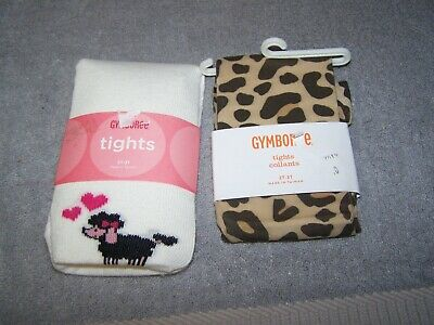 Gymboree Tights Girls Pair Dog Poodle w/Hearts and Leopard Print Size 2T-3T New