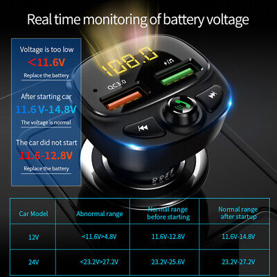 Wireless In Car Bluetooth FM Transmitter MP3 Radio Adapter Dual USB Charger Kit