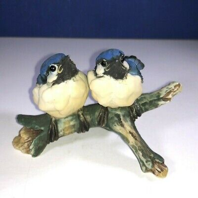 "CAPODIMONTE BLUE BIRDS FIGURE BY V BINDI, 2.5"" Tall X 3 3/4"" Wide"