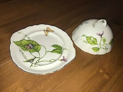 I.Godinger & Co Porcelain Dome Covered Cheese Dish Butterfly Dragonfly Flower